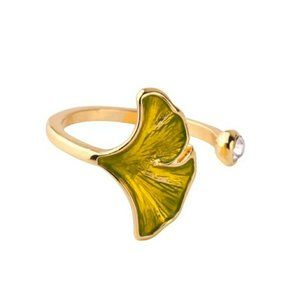 Ginkgo Enamel Glaze Green Leaf Crystal Gold Ring